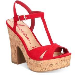 American Rag CIE Red Suede Cork Heels NWB